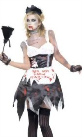 Fever-Womens-Zombie-French-Maid-Costume-with-Dress-Latex-Collar-0