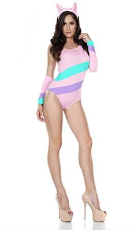 Forplay-Womens-Pastel-Striped-Cat-Bodysuit-with-Ear-Headband-0