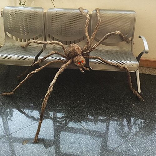 Giant Brown Hairy Spider with LED Eyes for Halloween Decoration
