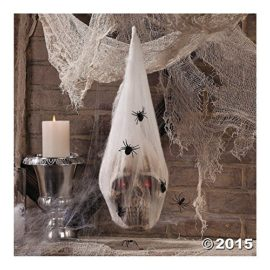 HALLOWEEN-Haunted-House-Decoration-Prop-SKULL-in-SPIDER-COCOON-Light-Up-Eyes-0