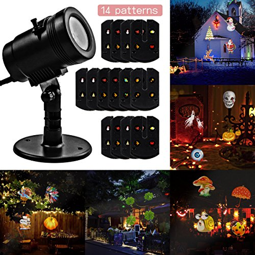 Halloween-Decorations-Projector-lights-Lychee-outdoor-Moving-Rotating-Projector-LED-Spotlights-Waterproof-projection-Led-lights-w14pcs-Switchable-pattern-lens-for-Wedding-Halloween-Xmas-Decoration-0