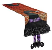 Halloween-Spider-Web-Table-Runner-With-Dangling-Legs-Witch-Hat-Decoration-0