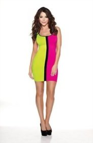 Halloween-Wholesalers-Womens-Color-Block-80s-Dress-Light-Green-Pink-0