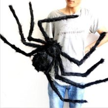 JCare-49-Inch-125CM-Large-Size-Black-Realistic-Fake-Plush-Spider-Puppet-Prank-Jokes-Toy-Made-Of-Wire-And-Plush-Halloween-Props-Spider-Funny-Toy-For-Party-Or-Bar-KTV-Halloween-Decoration-0