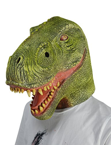 larpgears halloween costume mask party latex animal t rex dinosaur mask adult size