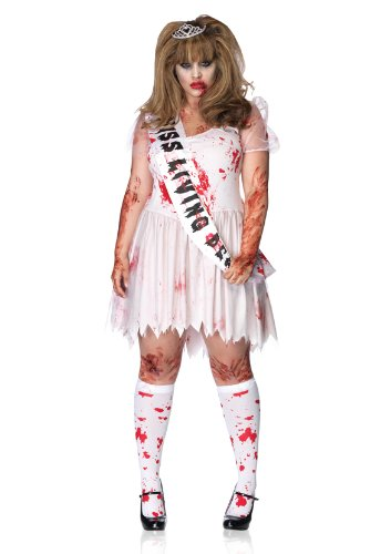 Leg Avenue Plus-Size 3Pc.Putrid Queen Bloody Tattered Prom Dress Sash Crown Plus