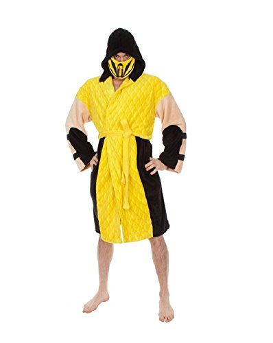 Mortal-Kombat-Mens-Scorpion-Hooded-Plush-Robe-Yellow-One-Size-0