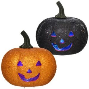 Orange-Black-Glitter-LED-Flashing-Light-Pumpkin-Halloween-Decoration-Pack-of-2-1-Orange-1-Black-0