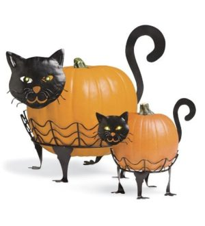 Plow-Hearth-Set-Of-2-Black-Cat-Pumpkin-Holders-Display-Stand-With-LED-Light-Eyes-Halloween-Decoration-14-W-x-10-L-x-9-H-Largest-0