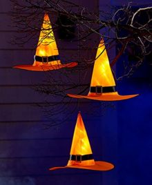Pre-Lit-Witch-Hat-Set-of-3-Halloween-Lighted-Decoration-0