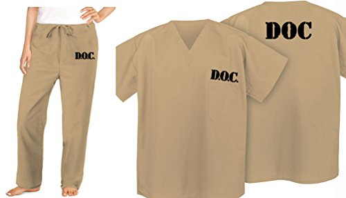 Prison Inmate Costume Tan Beige Scrubs DOC Jail Convict Uniform