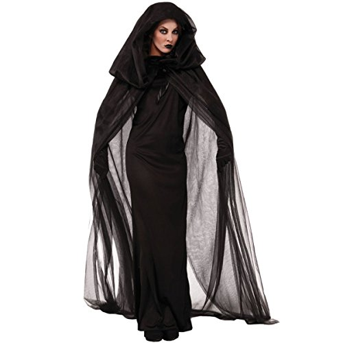 Quesera Women's Ghost Bride Costume Haunted Black Long Cape Halloween Scary Outfits