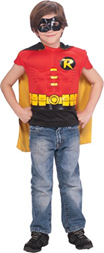 Robin Muscle Chest Costume Shirt with Cape and Mask