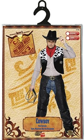 Smiffys-Mens-Cowboy-Leather-Costume-with-Chaps-Waistcoat-Belt-and-Neckerchief-0-2