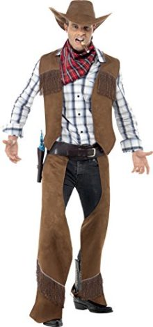Smiffys-Mens-Fringe-Cowboy-Costume-with-Waistcoat-Chaps-Neckerchief-and-Hat-0