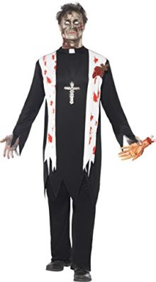 Smiffys-Mens-Zombie-Priest-Costume-Blooded-Top-Latex-Wound-Collar-and-Trousers-0