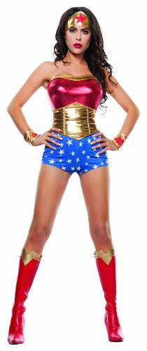 Starline Women's Lady Power Sexy Cosplay 4 Piece Costume Set