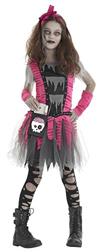 UHC Girl's Zombie Outfit Scary Theme Kids Fancy Dress Halloween Costume