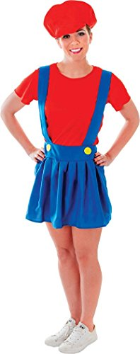 Women-Fancy-Party-Dress-Video-Game-Super-Mario-Plumber-Lady-Costume-Outfit-0