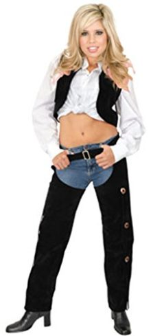 Womens-Sexy-Range-Rider-Cowgirl-Black-Faux-Suede-Chaps-and-Vest-Set-0