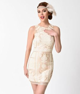 1920s-Beige-Gold-Beaded-Sequin-Sleeveless-Short-Flapper-Dress-0-0