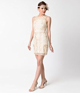 1920s-Beige-Gold-Beaded-Sequin-Sleeveless-Short-Flapper-Dress-0-2