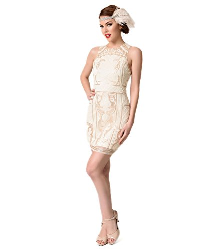 1920s-Beige-Gold-Beaded-Sequin-Sleeveless-Short-Flapper-Dress-0