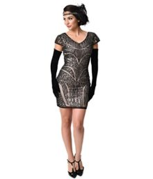 1920s-Black-Nude-Sequin-Cap-Sleeve-Short-Flapper-Dress-0