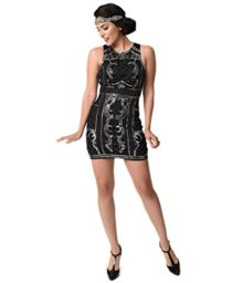 1920s-Black-Silver-Beaded-Sequin-Sleeveless-Short-Flapper-Dress-0