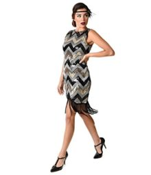 1920s-Style-Black-Silver-Sequin-Chevron-Sleeveless-Fringe-Flapper-0