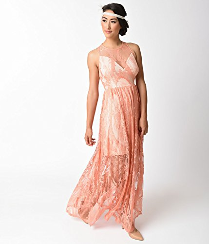 1920s-Style-Peach-Pink-Sleeveless-Lace-Long-Flapper-Dress-0-2