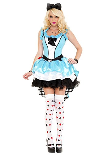 3 PC. Ladies Fairytale Fancy Alice Dress Costume Set