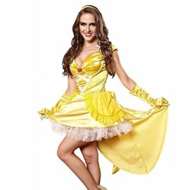 3Pc-Princess-Belle-Costume-Dress-Headpiece-Gloves-Cosplay-Beauty-Satin-Elegent-Desses-0-1