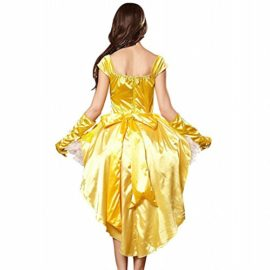 3Pc-Princess-Belle-Costume-Dress-Headpiece-Gloves-Cosplay-Beauty-Satin-Elegent-Desses-0-2