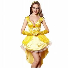 3Pc-Princess-Belle-Costume-Dress-Headpiece-Gloves-Cosplay-Beauty-Satin-Elegent-Desses-0