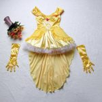 3Pc-Princess-Belle-Costume-Dress-Headpiece-Gloves-Cosplay-Beauty-Satin-Elegent-Desses-0-3