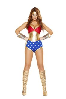 4-Piece-Miss-Super-Hero-Halter-Top-High-Waisted-Shorts-Party-Costume-0
