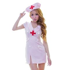 AHJ-C-Womens-Sexy-Nurse-Uniform-One-Size-fits-Most-with-hat-Pink-Nightie-Lingerie-Womens-Cosplay-Halloween-Costume-0