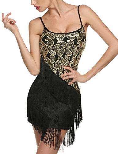 ANGVNS Women's 1920'S Spaghetti Straps Gatsby Sequin Tassel Glam Flapper Cocktail Party Dress