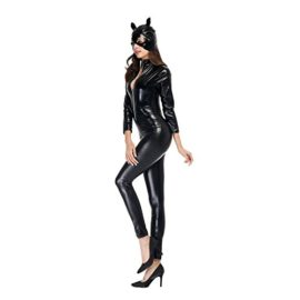 Adkinly-Halloween-Catwoman-Costume-Black-Catsuit-Zipper-Front-Full-Body-M-XXL-Size-0-2