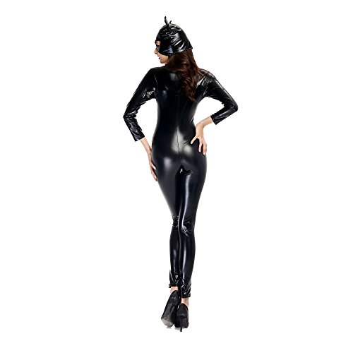 Adkinly-Halloween-Catwoman-Costume-Black-Catsuit-Zipper-Front-Full-Body-M-XXL-Size-0-3