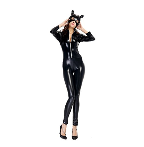Adkinly-Halloween-Catwoman-Costume-Black-Catsuit-Zipper-Front-Full-Body-M-XXL-Size-0-6