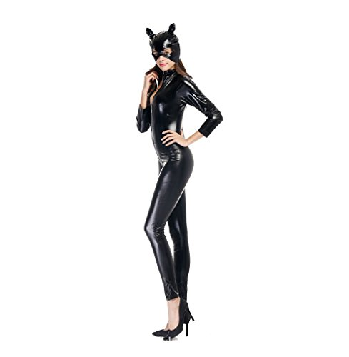 Adkinly-Halloween-Catwoman-Costume-Black-Catsuit-Zipper-Front-Full-Body-M-XXL-Size-0-7