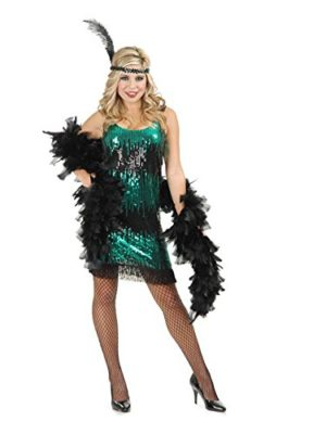 Adult-Black-and-Jade-Sequin-Flapper-Costume-LARGE-0