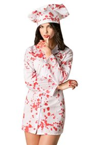 Adult-Women-Bloody-Chef-Costume-Crazy-Lady-Cook-Blood-Shirt-Halloween-Dress-Up-0