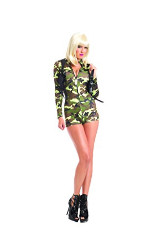 Adult Women's 2 Piece Camouflage Army Babe Romper Halloween Party Costume