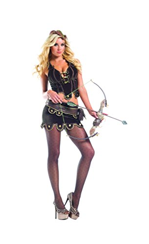 Adult Women's 4 Piece Sexy Miss Robin Hood Zippered Top Halloween Party Costume