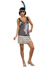 Adult-Womens-Silver-Flapper-Costume-2-Piece-Dress-Headband-SIZE-Medium-10-12-Roaring-20s-Speak-Easy-Vixin-0