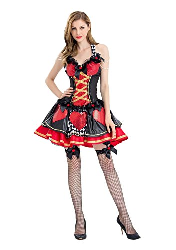 Alice Costume Desses Belle Princess Enchanted Women's Pretty Playing Card Queen Costume
