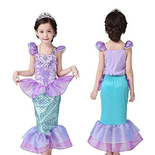 Ariel-DressMermaid-tail-Ruffle-Sleeve-Dresses-for-Girl-Princess-Christmas-Custome-0